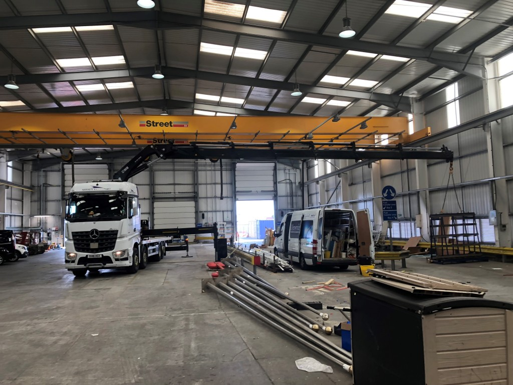 aircraft Hanger - HIAB crane working inside