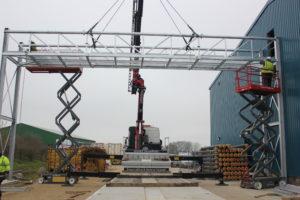 HIAB crane Bridge into position