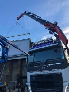 LED Road Sign Install Artic HIAB