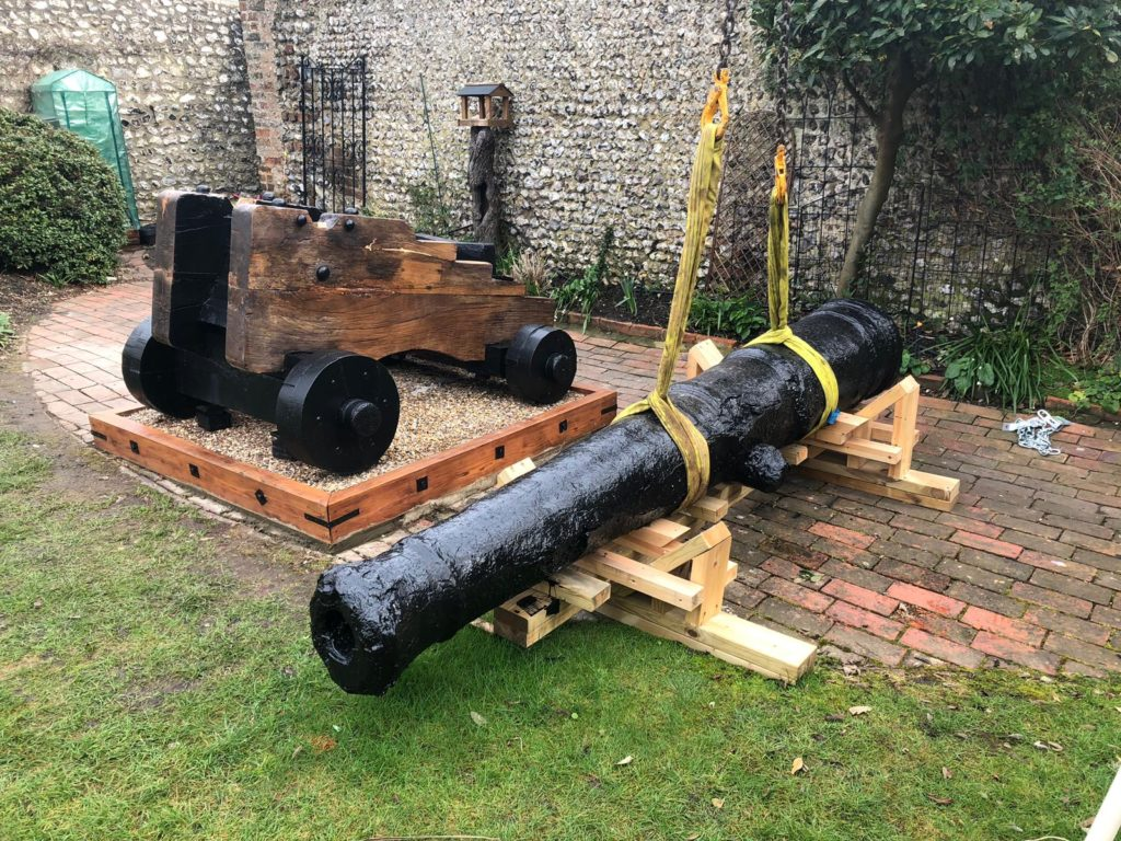 cannon into place