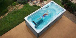 hiab swim spa into garden