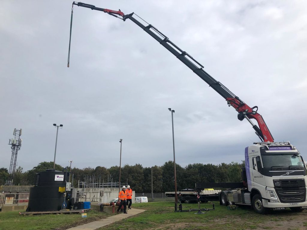 chemical dosing tank lift haulage
