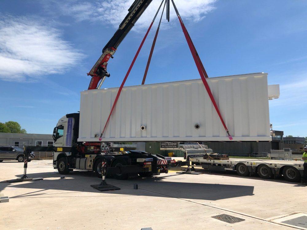 water treatment tank - hiab crane transport