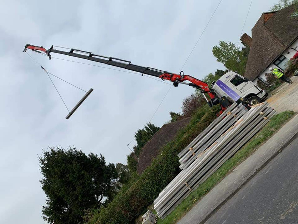 Block And Beam Install Crane Truck